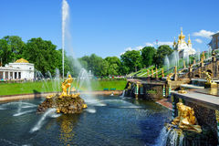 Grand cascade fountains in Petergof, St. Petersburg, Russia Royalty Free Stock Photos