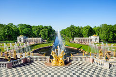 Grand cascade fountains in Petergof, St Petersburg, Russia Royalty Free Stock Photography