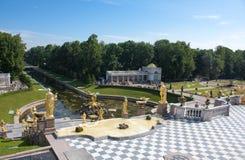 Grand Cascade Fountains in Peterhof Royalty Free Stock Photos