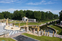 Grand Cascade Fountains in Peterhof Stock Image