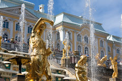 Grand Cascade Fountains in Peterhof Stock Photo