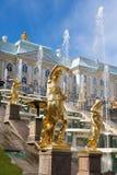 Grand Cascade Fountains in Peterhof Stock Photography