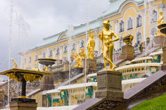 Grand Cascade fountains in Peterhof royalty free stock photo