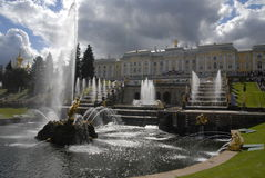Grand Cascade fountains in Peterhof. Royalty Free Stock Image