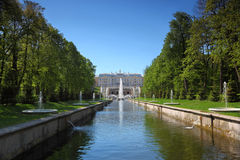 Grand Cascade Fountains At Peterhof Palace garden Royalty Free Stock Photo