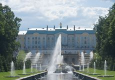 Grand Cascade Fountains at Peterhof Palace garden Royalty Free Stock Photos