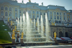 Grand Cascade Fountains At Peterhof Palace Royalty Free Stock Image