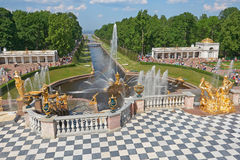 Grand Cascade fountains of Peterhof Royalty Free Stock Images