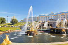 The Grand cascade of fountains in Peterhof sunny summer day Royalty Free Stock Image