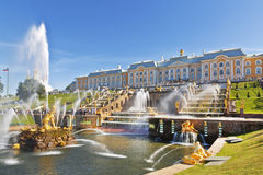 The Grand cascade of fountains in Peterhof sunny summer day Stock Photos