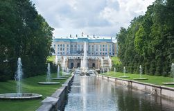 Grand Cascade In Pertergof, Russia. Stock Images