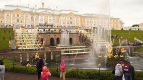 The Grand Cascade is the main fountain of Peterhof. Peterhof, Russia - July 11, 2017: The Grand Cascade is the main fountain of Peterhof stock video