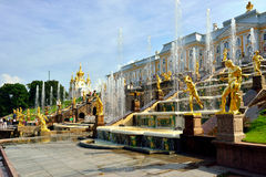 The Grand Cascade, palace and Samson Fountain in Peterhof, Stock Photo