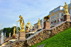 The Grand Cascade, palace and Samson Fountain in Peterhof, Royalty Free Stock Images