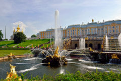The Grand Cascade, palace and Samson Fountain in Peterhof, Stock Photos