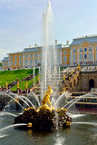 The Grand Cascade, palace and Samson Fountain in Peterhof, Royalty Free Stock Image