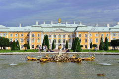 The Grand Cascade, palace and Samson Fountain in Peterhof, Royalty Free Stock Photo
