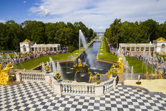 Grand cascade at Pertergof Palace.Saint-Petersburg, Russia Royalty Free Stock Images