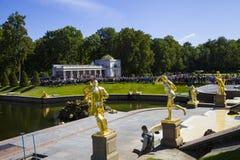 Grand cascade at Pertergof Palace.Saint-Petersburg, Russia Stock Image