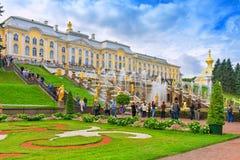 Grand cascade in Pertergof. PETERGOF, RUSSIA. Royalty Free Stock Image