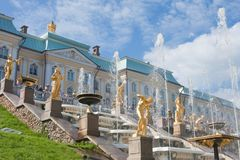 Grand cascade in Pertergof,  Russia. Stock Photos