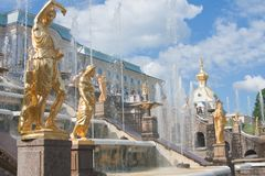Grand cascade in Pertergof,  Russia. Royalty Free Stock Photo