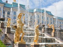 Grand cascade in Pertergof,  Russia. Stock Image