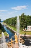 Grand cascade in Pertergof,  Russia Stock Image