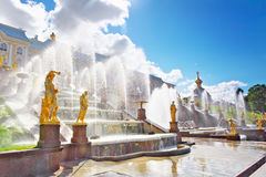 Grand cascade in Pertergof, S-Petersburg Stock Image