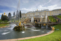 Grand cascade in Pertergof, Saint-Petersburg Stock Images