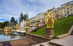 Grand cascade in Pertergof, Saint-Petersburg Royalty Free Stock Image