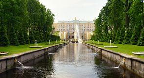 Grand cascade in Pertergof, Saint-Petersburg, Russia Stock Image