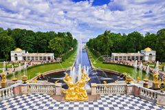 Grand cascade in Pertergof, Saint-Petersburg, Russia Stock Photos