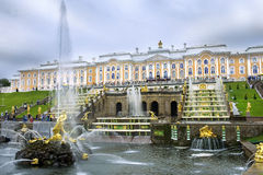 Grand cascade in Pertergof, Saint-Petersburg Stock Photos