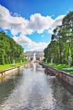 Grand cascade in Pertergof, St-Petersburg Royalty Free Stock Photos