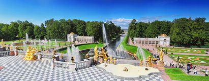 Grand cascade in Pertergof, St.Petersburg Stock Photos