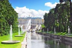 Grand cascade in Pertergof, St-Petersburg Stock Photo