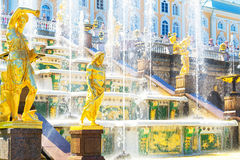 Grand cascade at Perterhof Palace, Saint Petersburg Royalty Free Stock Image