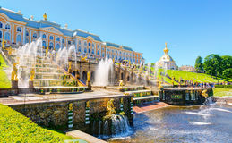 Grand Cascade in Perterhof Palace, Saint Petersburg Royalty Free Stock Photos