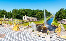 Grand cascade in Perterhof. Saint Petersburg Stock Photo