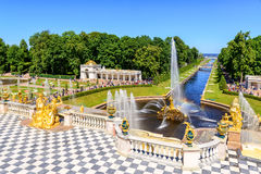 Grand cascade in Perterhof. Saint Petersburg, Russia Stock Photography