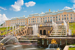 Grand Cascade in Petergof, St Petersburg, Russia Royalty Free Stock Photography