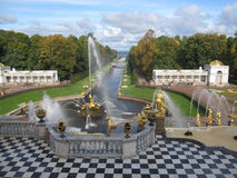 Grand Cascade in Peterhof Stock Photo