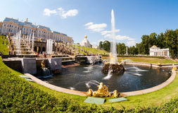 Grand Cascade in Peterhof palace Stock Photos