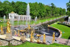 The Grand Cascade in Peterhof Palace, Russia Royalty Free Stock Images