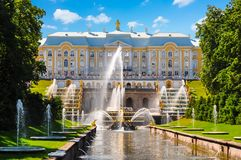 Grand Cascade of Peterhof Palace, Samson fountain and fountain alley, Saint Petersburg, Russia royalty free stock image