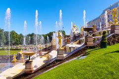 Grand Cascade in Peterhof Palace, St Petersburg Royalty Free Stock Image