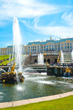 Grand Cascade in Peterhof Park Stock Photos