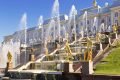 Grand cascade in Peterhof , Saint-Petersburg Royalty Free Stock Photography