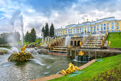 Grand cascade in Peterhof, Saint-Petersburg, Russia. Grand cascade in Pertergof or Peterhof, known as Petrodvorets from 1944 to 1997. The Peterhof Palace stock photos